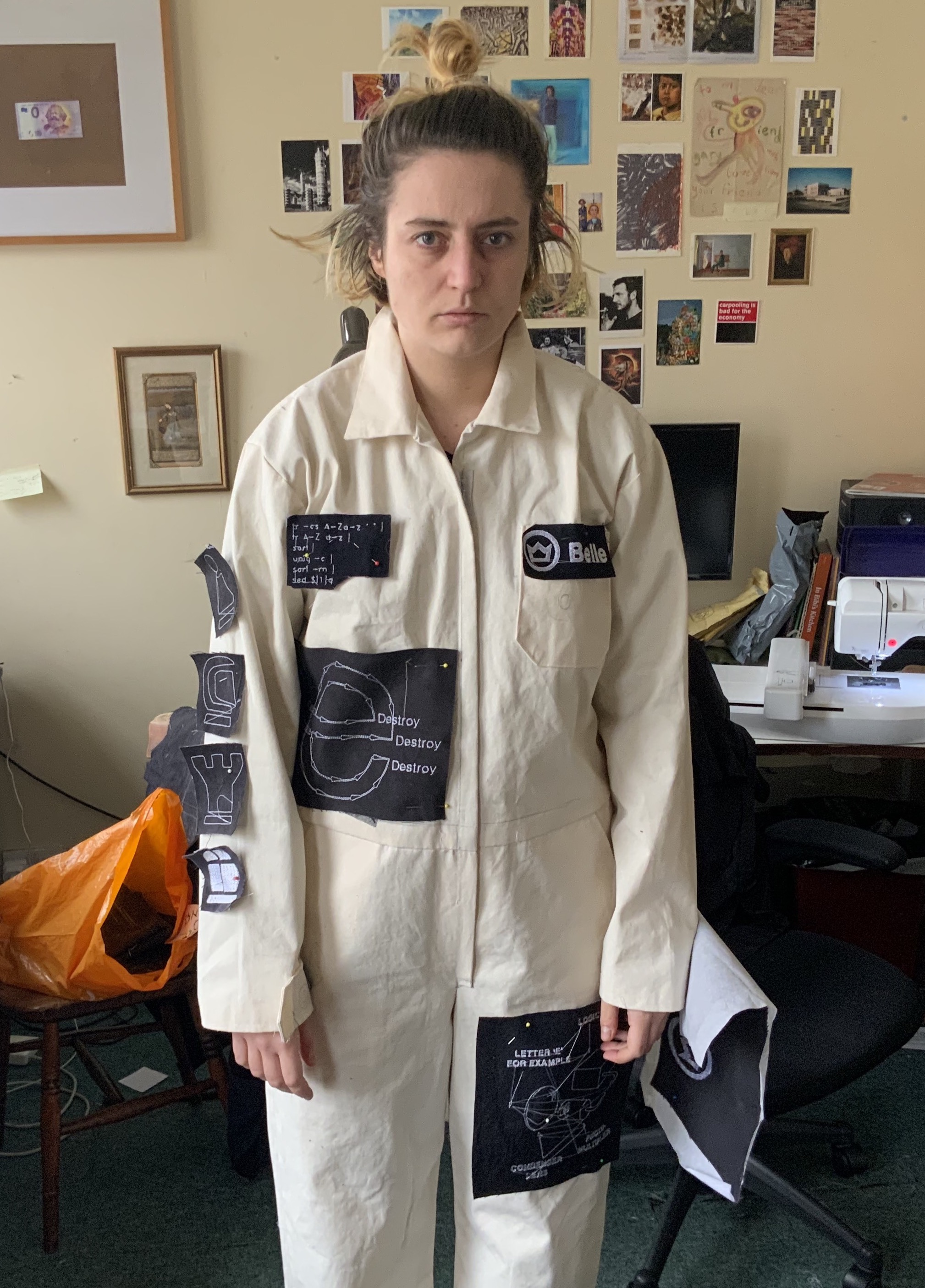 testing patches pinned to suit (but I look sad)