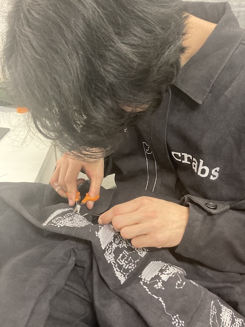 trimming embroidery